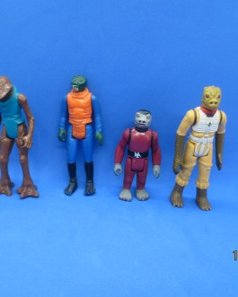 4 Rare Star Wars Bounty Hunter action figures 1978 Ponda Baba, Snaggletooth & 1980 Bossk +
