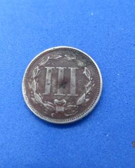 Rare 3 cent nickel Split Planchet mint error coin
