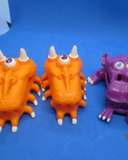 1987 Ghostbusters 3″ Mini Trap Purple & 2 Orange Ghost Monster Figure Set Kenner