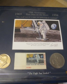 1994 First Man On The Moon 25th Anniversary Stamp, Medal & Dollar Coin Set