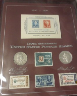 1847-1997 150th US Postage Stamps, Silver Franklin 50C & 1982 PROOF Washington
