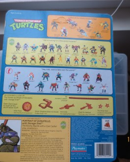1990 Playmates Unpunched Donatello w/ Storage Shell TMNT Ninja Turtles