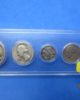 1942 Silver year set Walking Half Washington Quarter Mercury dime & more 421