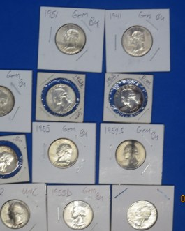 11 coin high grade BU, proof & unc Silver Washington Quarters 1955 51 41 42 54s 54d