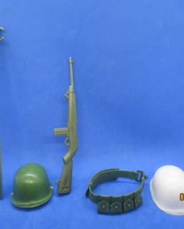 Vintage Marx – Stony Smith accessories Army Helmet, Belt, Rifle, Hat, oar