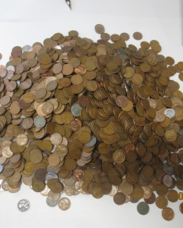 2500 (17 lbs) – Copper Wheat coins Teens -1958 PDS (Steel cents No Culls) Unsearched avg circ to bu