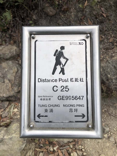 Cable car hike distance posts