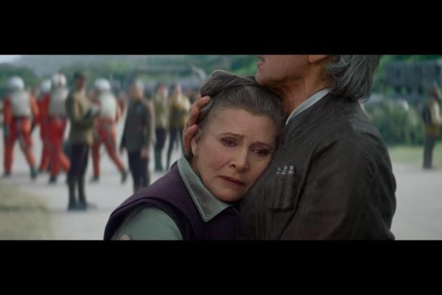 Leia and Han Solo hug