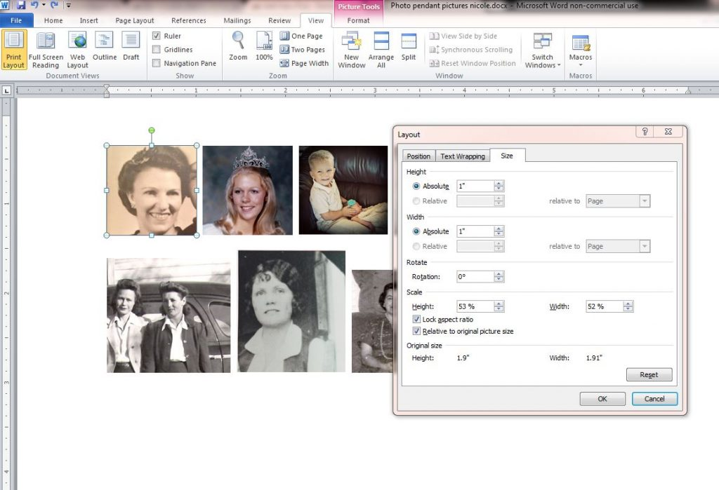 resize in word