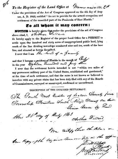 Arthur Dillard 1843 land grant, Florida