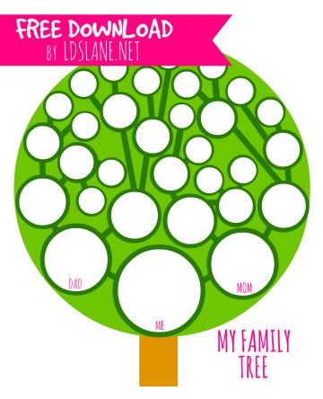 Family Tree Printable - Pink Version