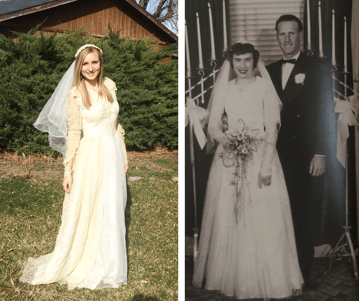 Mckinley wearing grandmas wedding dress