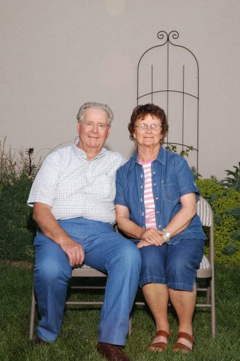 Nan and Bob, backyard 2005