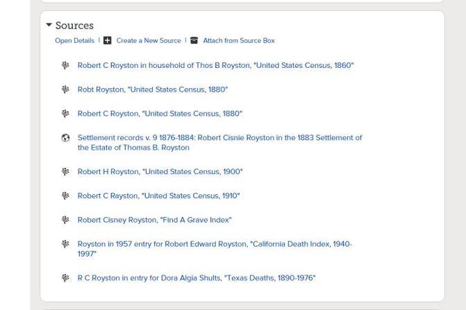 Sources for Robert Cisnie Royston