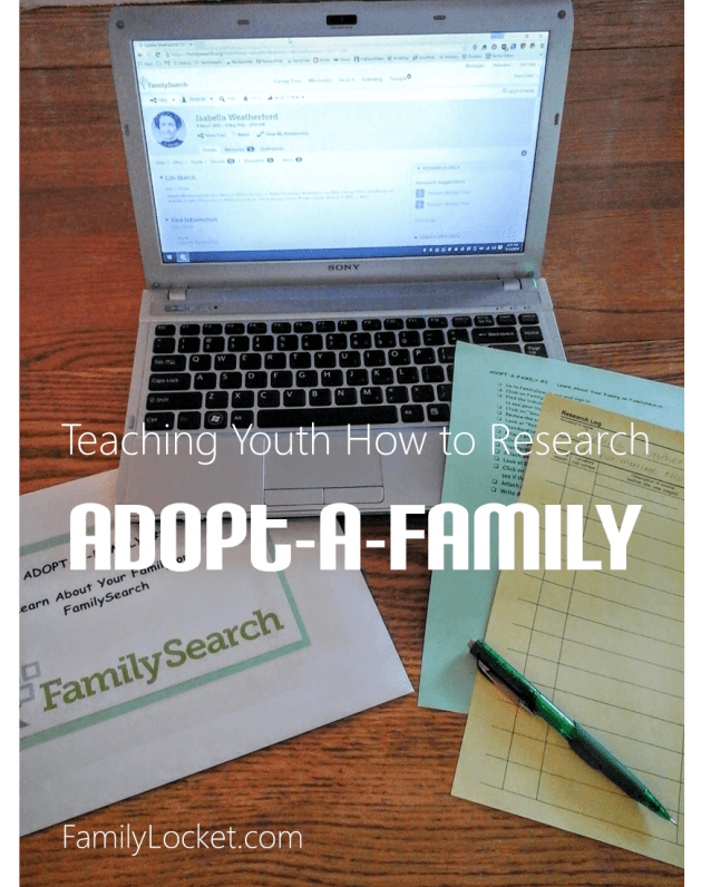 Teaching youth how to do family history research with adopt a family worksheets