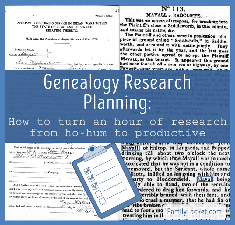 Genealogy Research Planing _ How to turn an hour of research from ho hum to productive 2