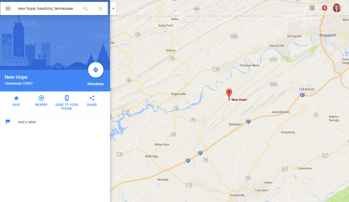 new-hope-google-maps