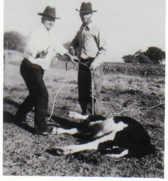 Tom Norris and Leslie Shults (on right), circa 1934
