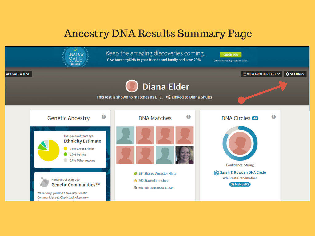 on your dna results summary page click on in the top right hand corner to take you to your personal test settings page