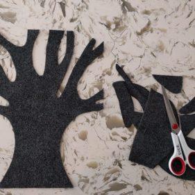 Cut with fabric scissors