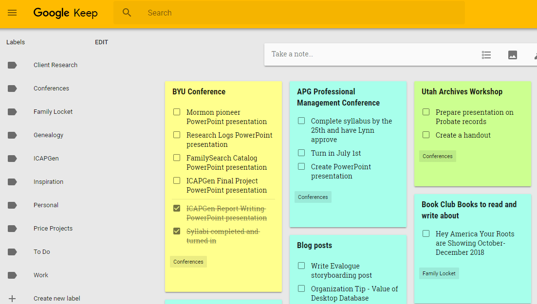 Boost Your Genealogy Productivity with Google Keep – Family