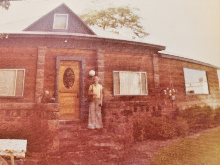 Kaye in front of Caroline's home in Oakley, Idaho, circa 1970