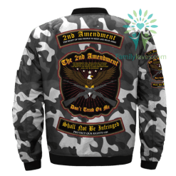 familyloves.com 2ND AMENDMENT, THE RIGHT OF THE PEOPLE TO KEEP AND BEAR ARMS, SHALL NOT BE INTRINGED over print Bomber jacket %tag