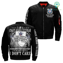 familyloves.com I Am A Coast guard Veteran I Love Freedom I Wore Dogtags I Have A DD-214 Over Print Jacket %tag