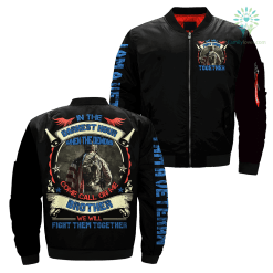 familyloves.com In The Darkest Hour When The Demons Come Call On Me Brother We Will Fight Them Together Over Print Jacket %tag