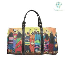 familyloves.com Pow Wow Blanket Dancers Travel Bag Black (Small) (Model1639) %tag