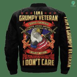 familyloves.com I Am A Grumpy Veteran I Served, I Sacrificed Over Print Jacket %tag