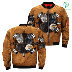 familyloves.com 4 spirit animal dream catcher native over print bomber jacket %tag