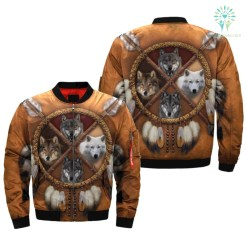 4 WOLVES DREAM CATCHER NATIVE OVER PRINT BOMBER JACKET %tag familyloves.com