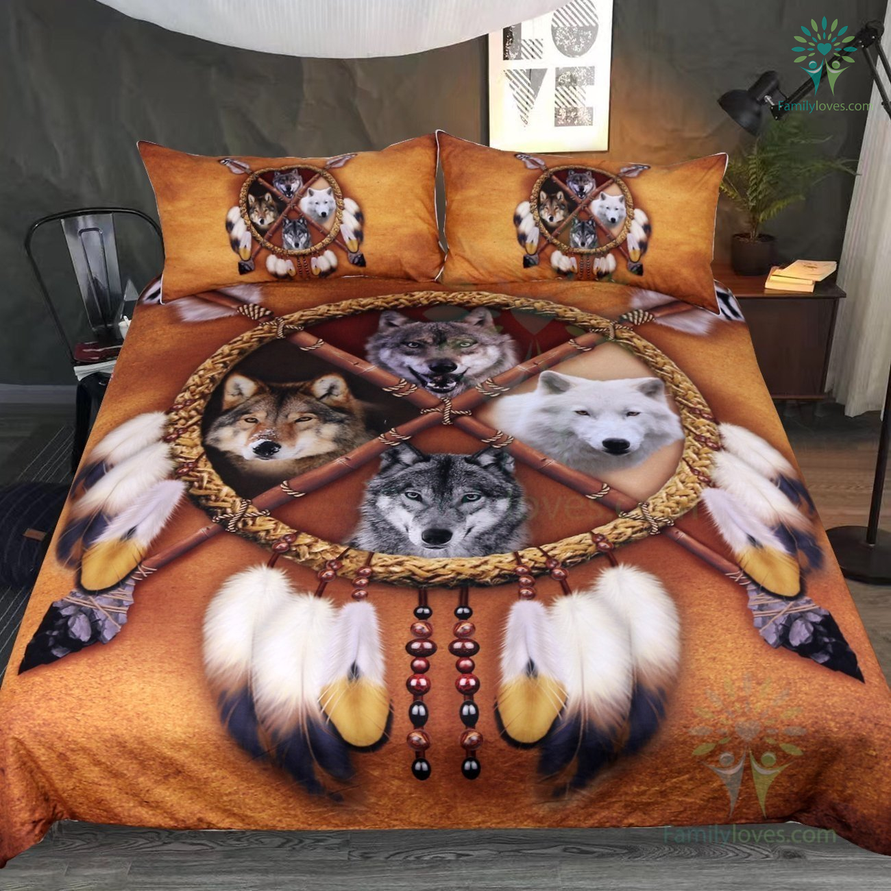 4 Wolves Dreamcatcher Bedding Native American Golden Brown