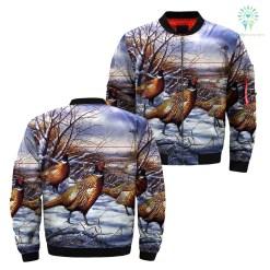 Pheasant hunting over print jacket %tag familyloves.com