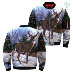 familyloves.com Snow deer art camo over print Jacket %tag