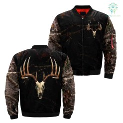 familyloves.com Camo Deer Skull Black Over Print Jacket %tag