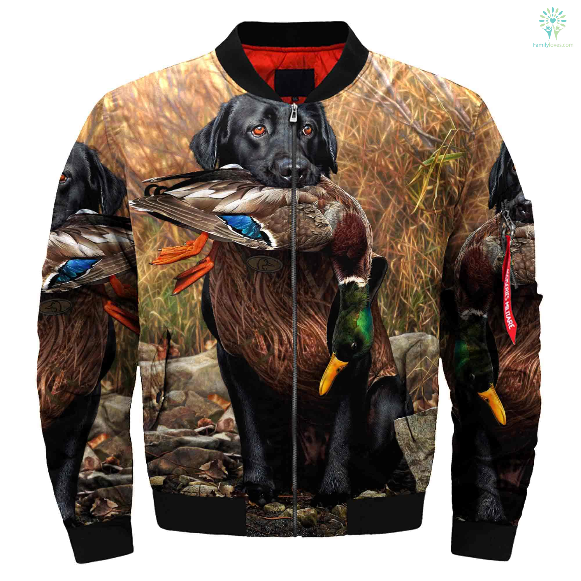 e8d97763f962 familyloves.com 3D All Over Printed Dog Hunting Duck Art Jacket %tag