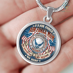 AIR FORCE MOM MY DAUGHTER MY SOLDIER MY HERO LUXURY NECKLACE Luxury Necklace w/ adjustable snake-chain %tag familyloves.com