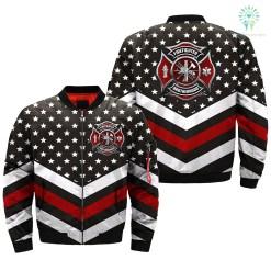 familyloves.com AMERICAN FIREFIGHTER BROTHERHOOD over print Bomber jacket %tag