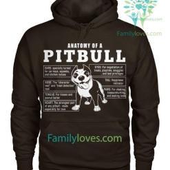 familyloves.com Anatomy Of A Pitbull Dog Tshirt %tag