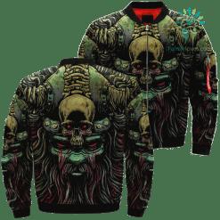 familyloves.com Viking's Skull Art Over Print Jacket %tag