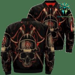 familyloves.com Firefighter Skull Over Print Jacket %tag