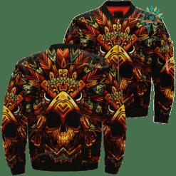 familyloves.com Native Warrior Skull Over Print Jacket %tag