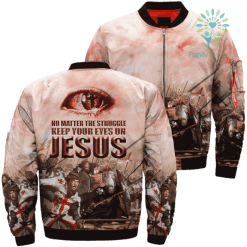 JESUS KEEP EYES ON JESUS TEMPLAR KNIGHT 3D Over Print Jacket %tag familyloves.com