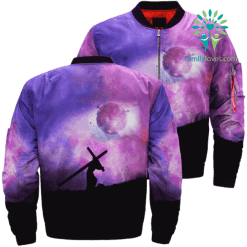 JESUS WEARING CROSS LOVE TO THE MOON Over Print Jacket %tag familyloves.com