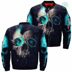 Digital Fantasy Skull Over Print Jacket %tag familyloves.com