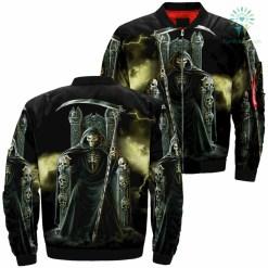 Divine Death Skull Over Print Jacket %tag familyloves.com