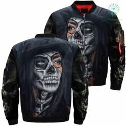Skull Girl Over Print Jacket %tag familyloves.com