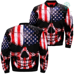 Skull Flag American Over Print Jacket %tag familyloves.com